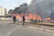 حريق مهول يهز سوقا شعبيا بالبيضاء