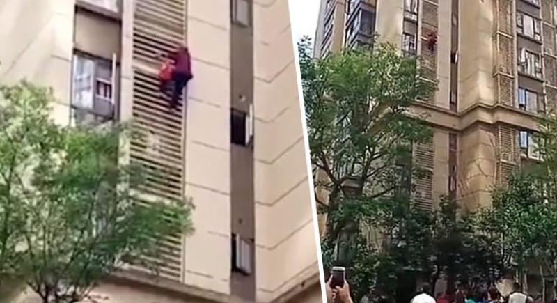 بعد سجنها.. عجوز تسعينية تنزل 9 طوابق من برج شاهق (فيديو)