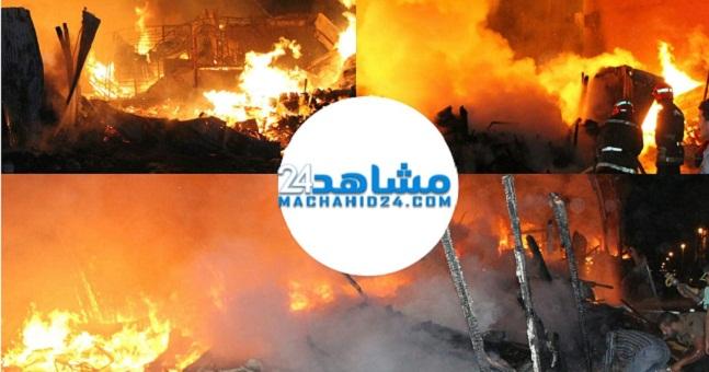 بالصور.. حريق مهول بمستودع للمتلاشيات بالمحمدية