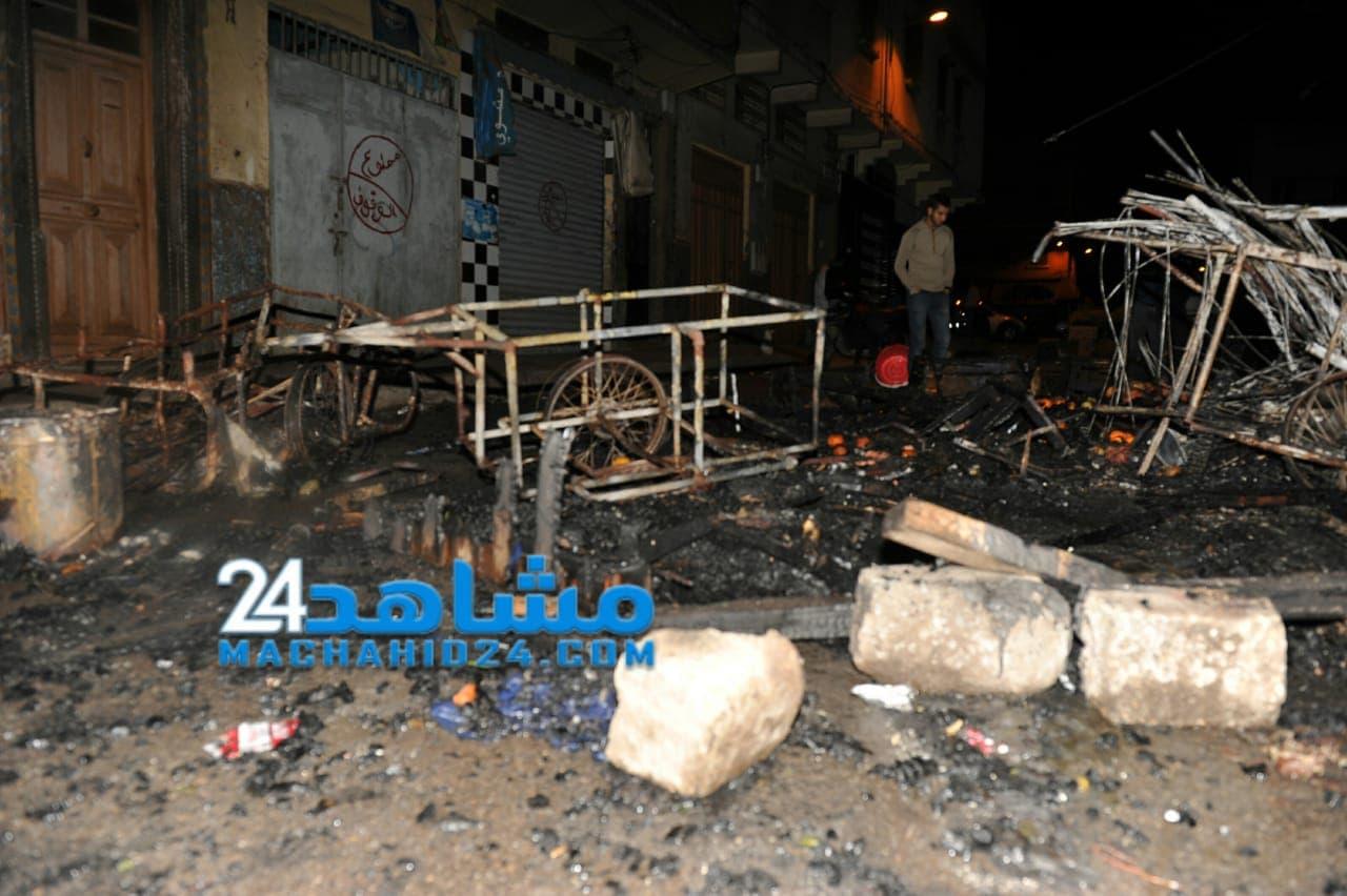 بالصور.. اندلاع حريق مهول في سوق شعبي بالبيضاء