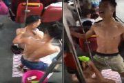 استحمام داخل حافلة.. الأمن يدخل على الخط والشابان يعتذران ويوضحان