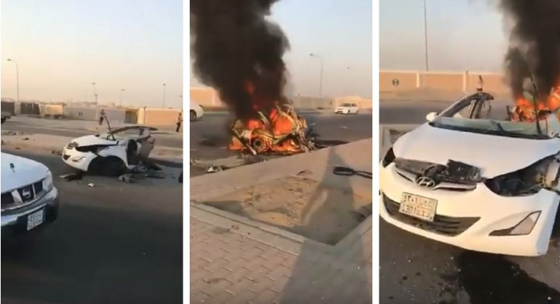 بسبب حادث مروع... انقسام سيارة إلى شطرين ومقتل قائدها في السعودية (فيديو)