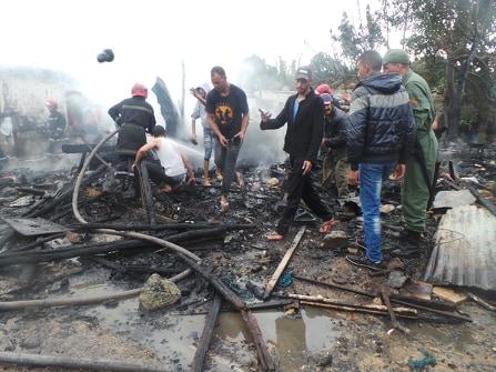 قنينة غاز تتسبب في حريق بالمساكن الصفيحية لدوار لحلالفة بمديونة