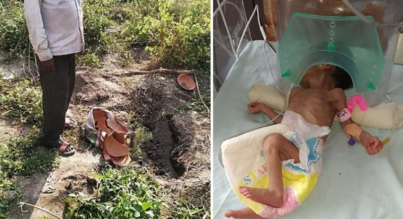 نجاة طفلة رضيعة من الموت بعد دفنها حية