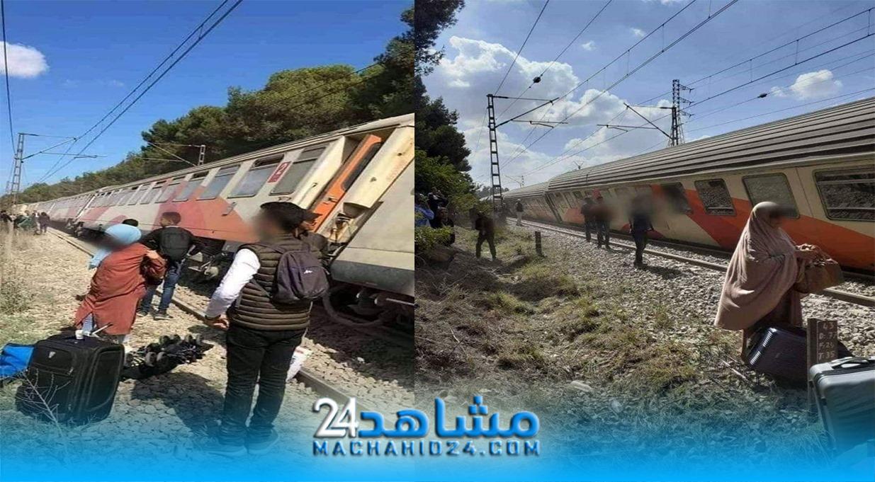 بالصور.. انحراف قطار عن سكته ببوسكورة يربك المسافرين