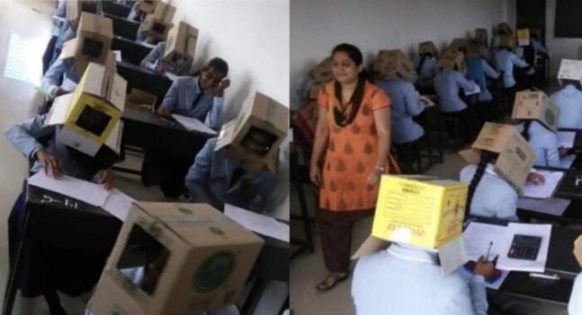 مدرسة  تضع صناديق على رؤوس الطلاب لمنعهم من الغش