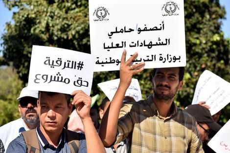 تنسيقية حاملي الشهادات تواصل اعتصامها بمقر وزارة التربية الوطنية