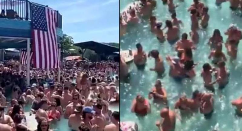 في انتهاك للتدابير الاحترازية... جدل حول حوض سباحة ممتلئ بالأشخاص (فيديو)