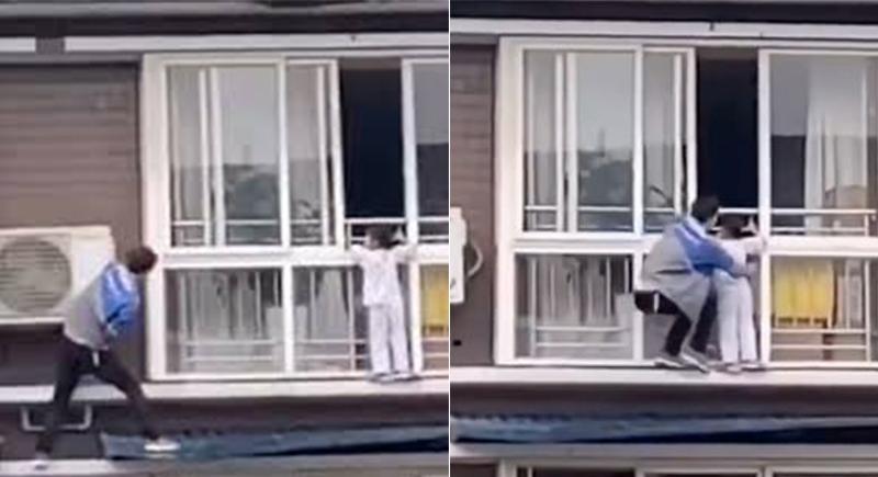 رجل صيني يتسلق 6 طوابق لإنقاذ فتاة عالقة (فيديو)