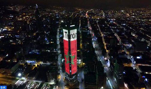 """بمناسبة عيد العرش.. برج """"كولباتريا"""" بكولومبيا يتزين بالعلم المغربي"""