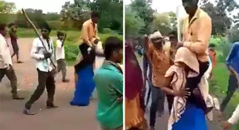 عقاب غريب بحق سيدة خانت زوجها مع زميلها في العمل بالهند (فيديو)
