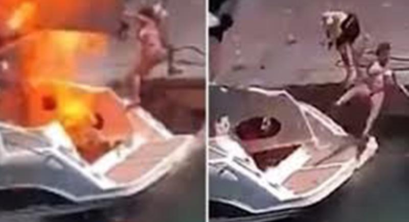 يخت يقذف سيدة في الهواء من شدة الانفجار (فيديو)