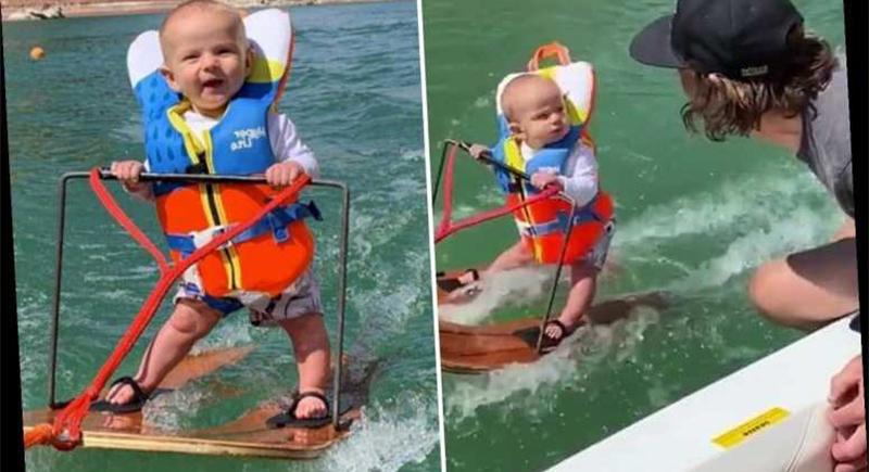 رضيع يحطم رقما قياسيا في رياضة التزلج على الماء (فيديو)