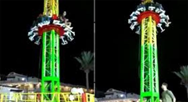 من ارتفاع 10 أمتار... فيديو يوثق سقوط لعبة ملاهي في مصر (فيديو)