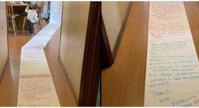 طفلة تكتب رسالة بطول 15 مترا لجارتها بهدف استعادة لعبها (صور)