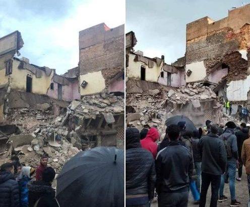 بعد التساقطات المطرية.. انهيار منزل من 3 طوابق بالحي المحمدي بالبيضاء (صور)