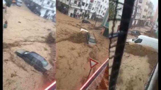 سيول جارفة تُغرق مدينة تطوان (صور وفيديو)