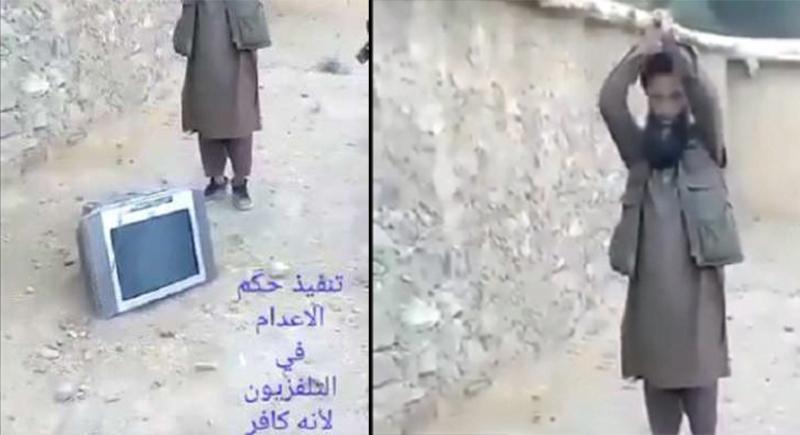 لأنه كافر.. شخص ينفذ حكم الإعدام في جهاز التلفاز ! (فيديو)