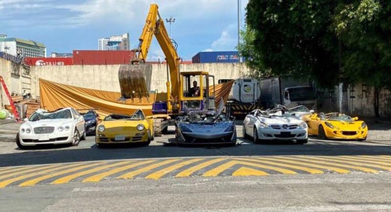 الفلبين تدمر سيارات فارهة بملايين الدولارات (فيديو)