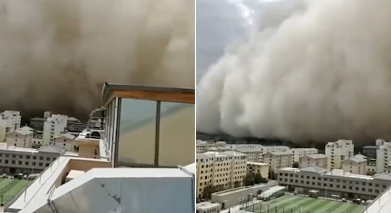 عاصفة رملية تبتلع مدينة صينية (فيديو)