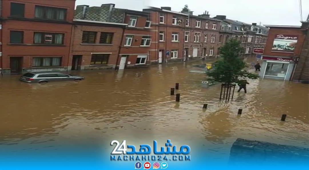 بالفيديو.. خوف وهلع مغاربة عالقين وسط فيضانات بلجيكا